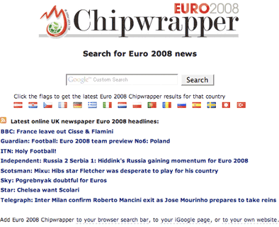 The Euro 2008 Chipwrapper Homepage