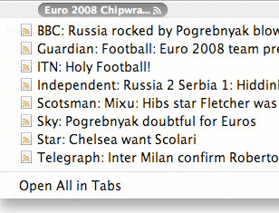 Euro 2008 Chipwrapper RSS feed as a live bookmark in Firefox