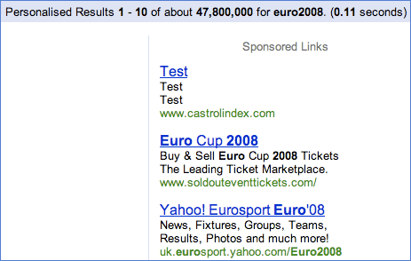 Castrol's test AdWords are live for Euro2008