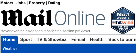 Daily Mail beta navigation