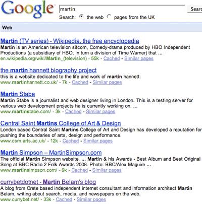 Google SERPS for 'martin'