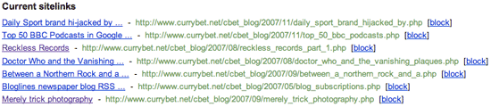 Google Webmaster tool to block sitelinks