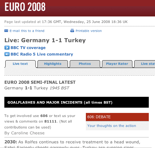 Text commentary from the Euro 2008 semi-final on bbc.co.uk