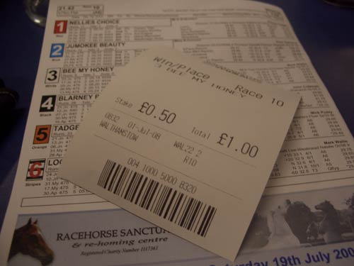 One of my unsuccessful betting slips
