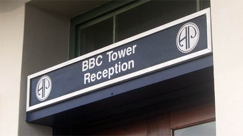 BBC Tower Reception sign