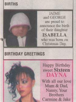 Births and birthdays announced