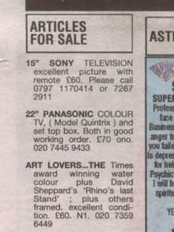 Classified ads in the Muswell Hill Journal
