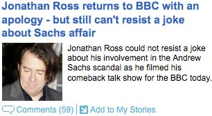 Jonathan Ross coverage in the Mail Online