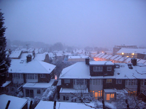 Snow on London rooftops