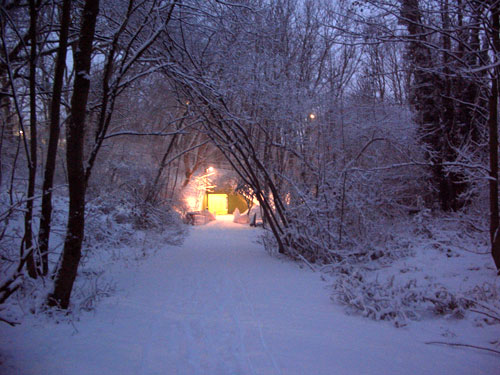 Snowy subway entrance through the trees