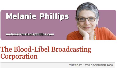 Melanie Phillips BBC blood libel header