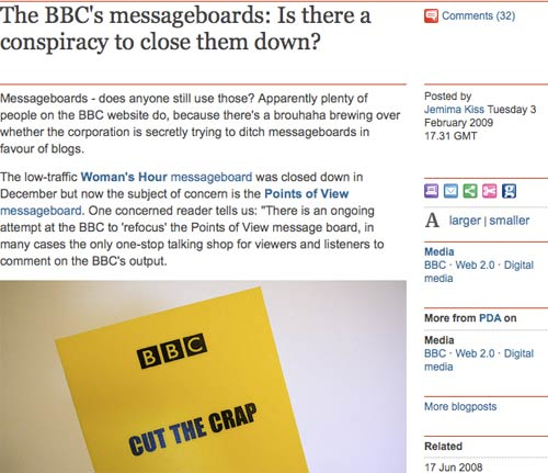 Jemima Kiss Guardian article about BBC message boards