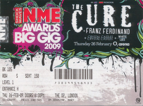 NME Big Gig Cure ticket