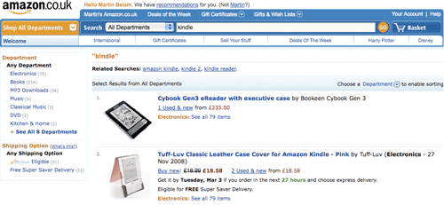 Amazon UK 'kindle' search results