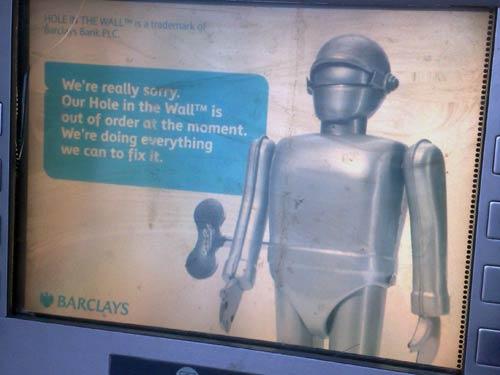 Broken Barclays ATM robot