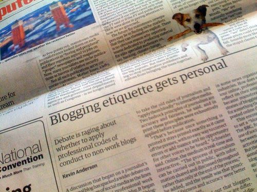 Blog etiquette story in The Guardian