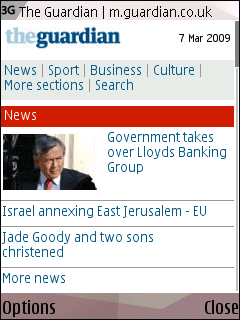Guardian  mobile front page