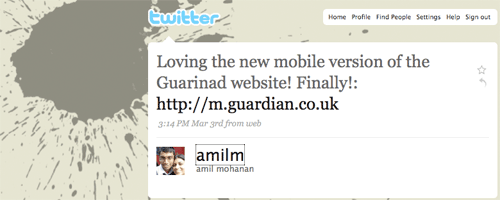 Amilm's tweet about the Guardian mobile site