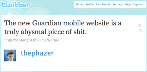Phazer's tweet about the Guardian mobile site