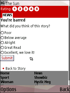 The Sun's mobile story rating feature