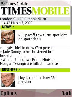 Times Mobile homepage