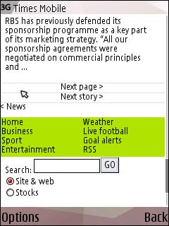 Times mobile lower navigation
