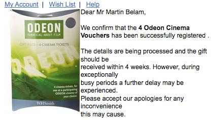 Odeon confirmation email
