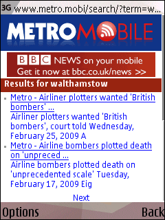 BBC adverts on the Metro Mobile