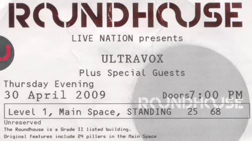 My Ultravox ticket