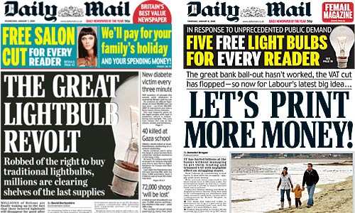 Daily Mail's light bulb campaign covers