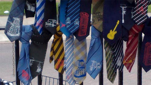 Dalek ties on sale in Cambridge