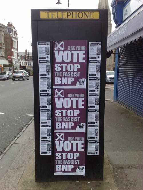 Stop the BNP fly-posted across a telephone box in Muswell Hill