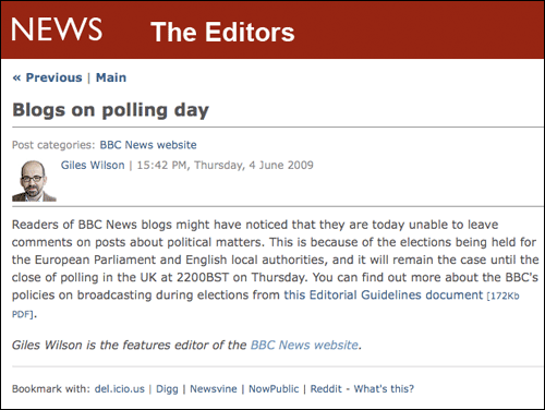 BBC Blogs message