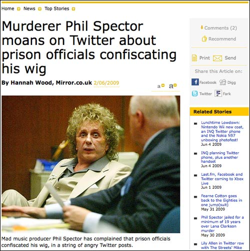 Phil Spector hoax online in The Mirror