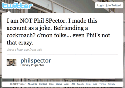 Phil Spector hoax revealed on Twitter
