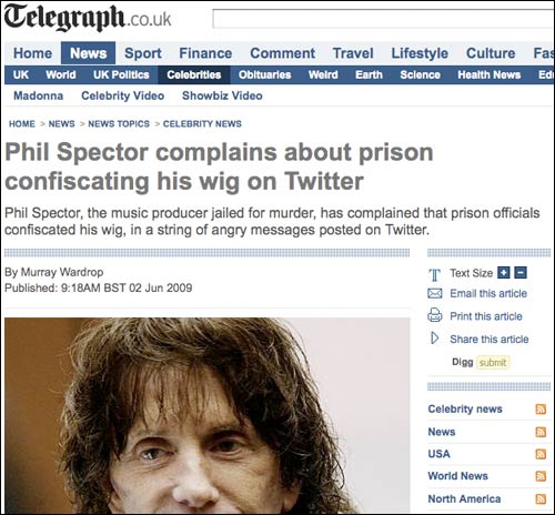 Phil Spector Twitter hoax in The Telegraph