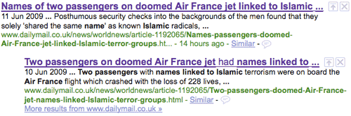 Google results for the Mail's story