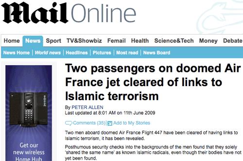 Daily Mail Air France story