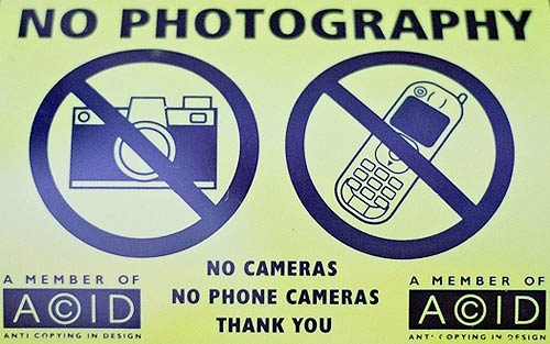 ACID's No Photography sign