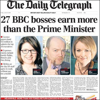 The Telegraph front page