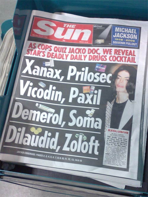 The Sun's Michael Jackson pharma front page