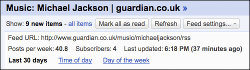 The Guardian's Michael Jackson feed in Google Reader