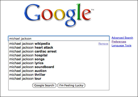 Google's Michael Jackson suggestions