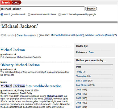 Michael Jackson search on The Guardian