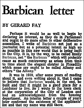 'Barbican Letter' from 1965 by Gerard Fay in The Guardian