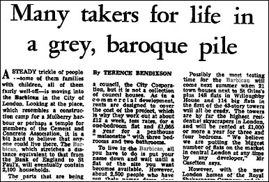 1969 article about the Barbican in The Guardian