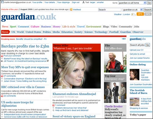 Guardian website on Monday morning