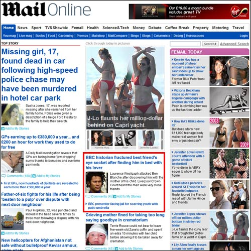 Mail Online homepage on Tuesday afternoon