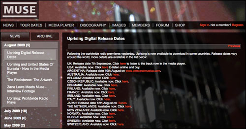 Muse release dates