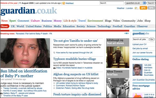 Guardian homepage